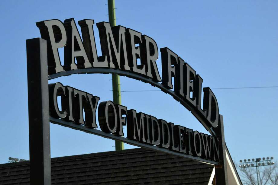 A new sign will greet fans at the renovated Palmer Field in Middletown when it opens next week for a game between Xavier and Amity. Photo: Pete Paguaga / Hearst Connecticut Media