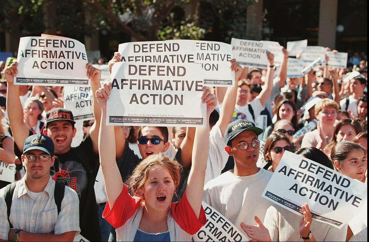 Students show their support for affirmative action during a noon time rally at Sproul Plaza on the University of California, Berkeley campus, Thursday, Oct. 12, 1995, in Berkeley, Calif. Thousands of students across the state walked out of classes to show their belief in affirmative action. (AP Photo/Andy Kuno)