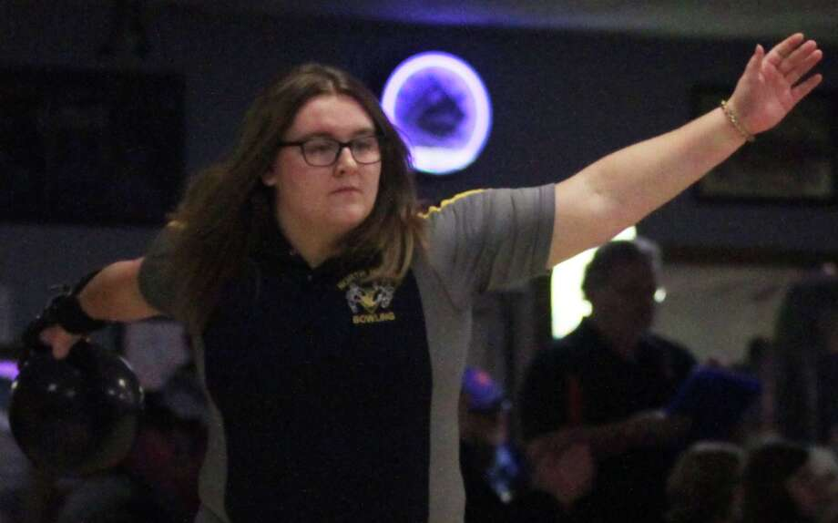 North Huron's Patricia Pineau closed her high school bowling career with a 931, which secured her spot in 39th place at the recent state finals. Photo: Tribune File Photo