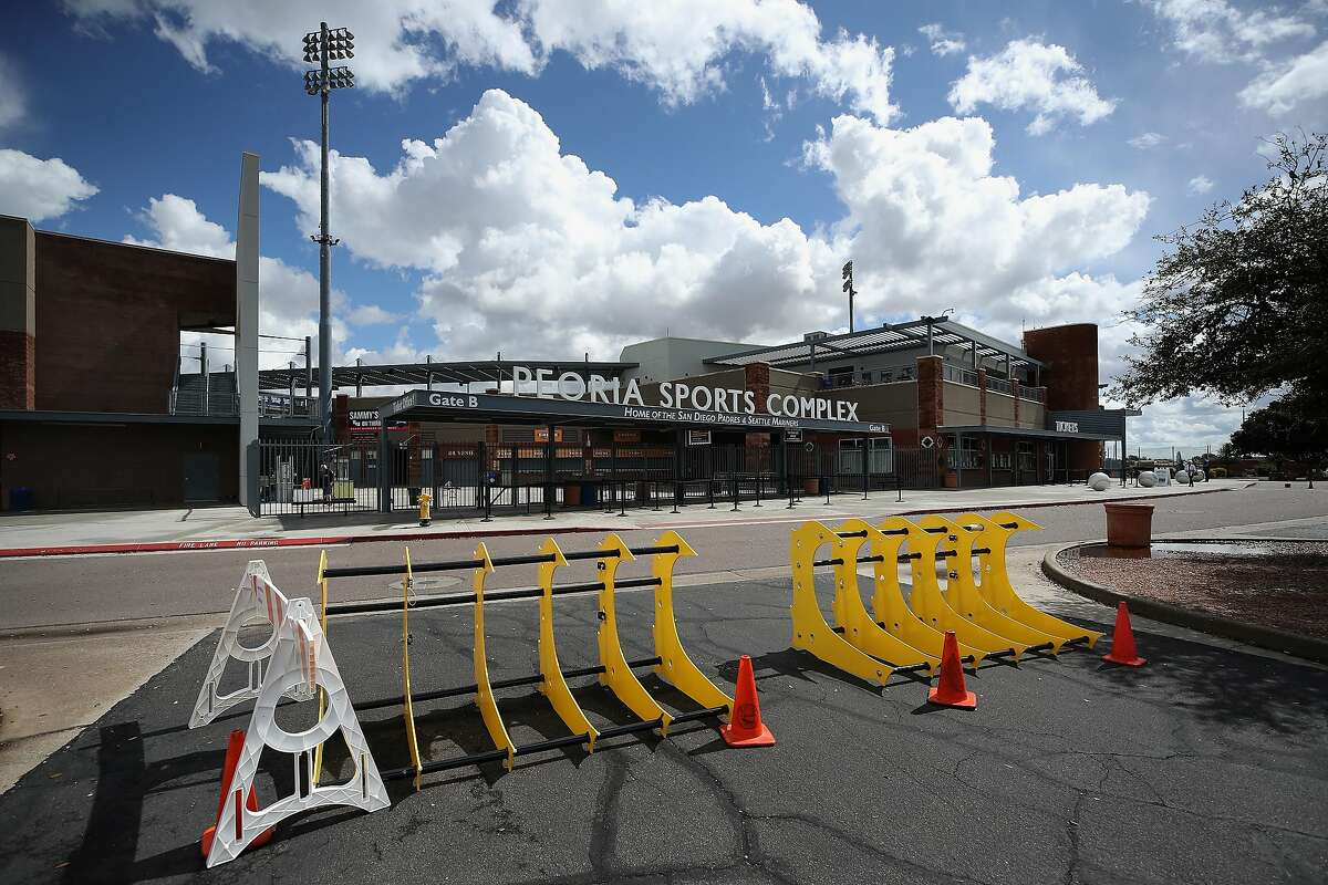 PEORIA, ARIZONA - MARCH 13: Parking barriers and cones are set up outside of Peoria Stadium on March 13, 2020 in Peoria, Arizona. Major League Baseball cancelled spring training games and has delayed opening day by at least two weeks due to COVID-19. (Photo by Christian Petersen/Getty Images)