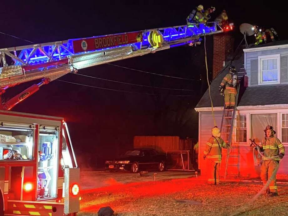 Crews on scene for a chimney fire in Brookfield, Conn., on Thursday, March 12, 2020. Photo: Contributed Photo / Brookfield Volunteer Fire Department