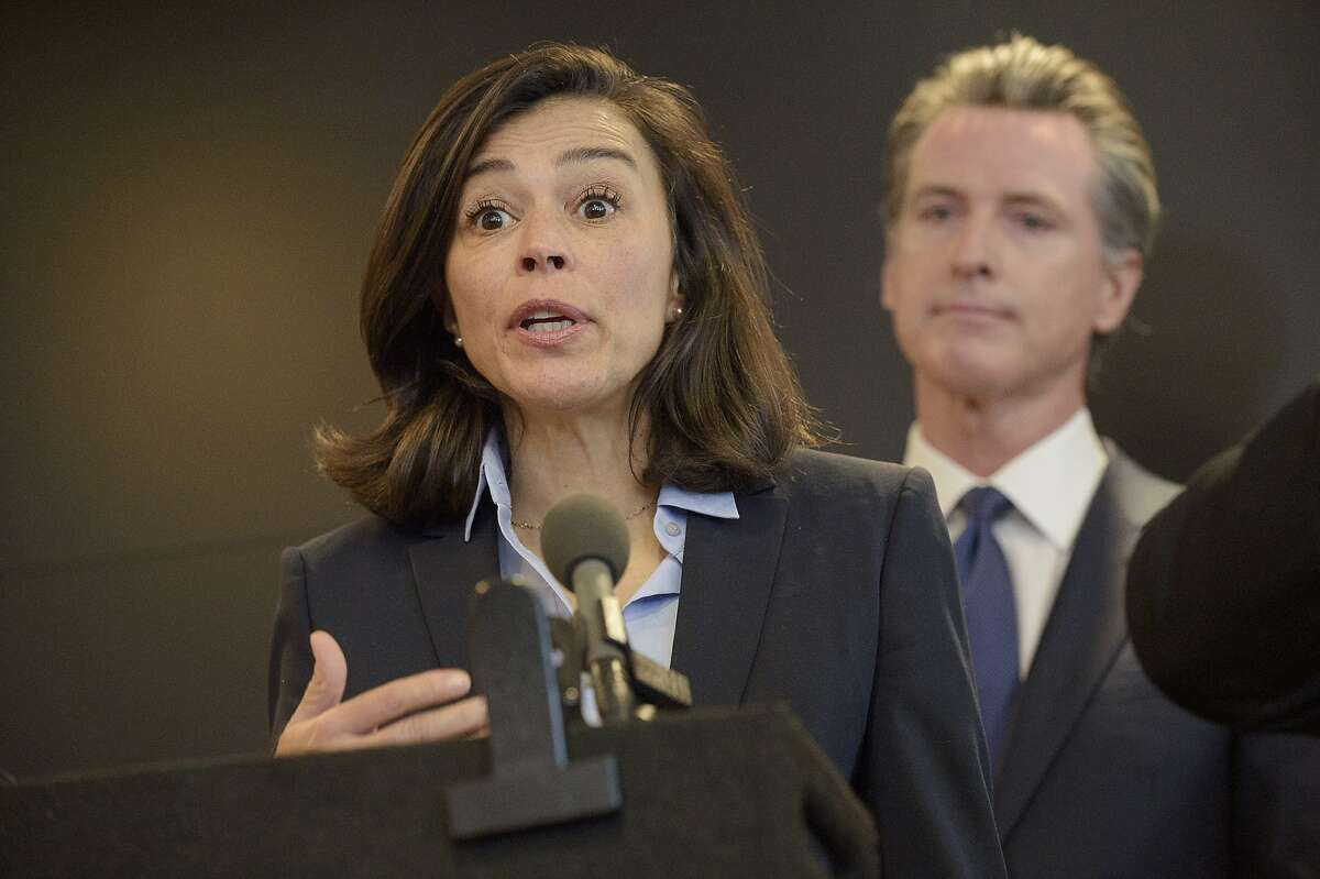 California Department of Public Health Director and State Health Officer Dr. Sonia Angell speaks to members of the press at a news conference in Sacramento, Calif., Thursday, Feb. 27, 2020. Angellresigned abruptly over the weekend.