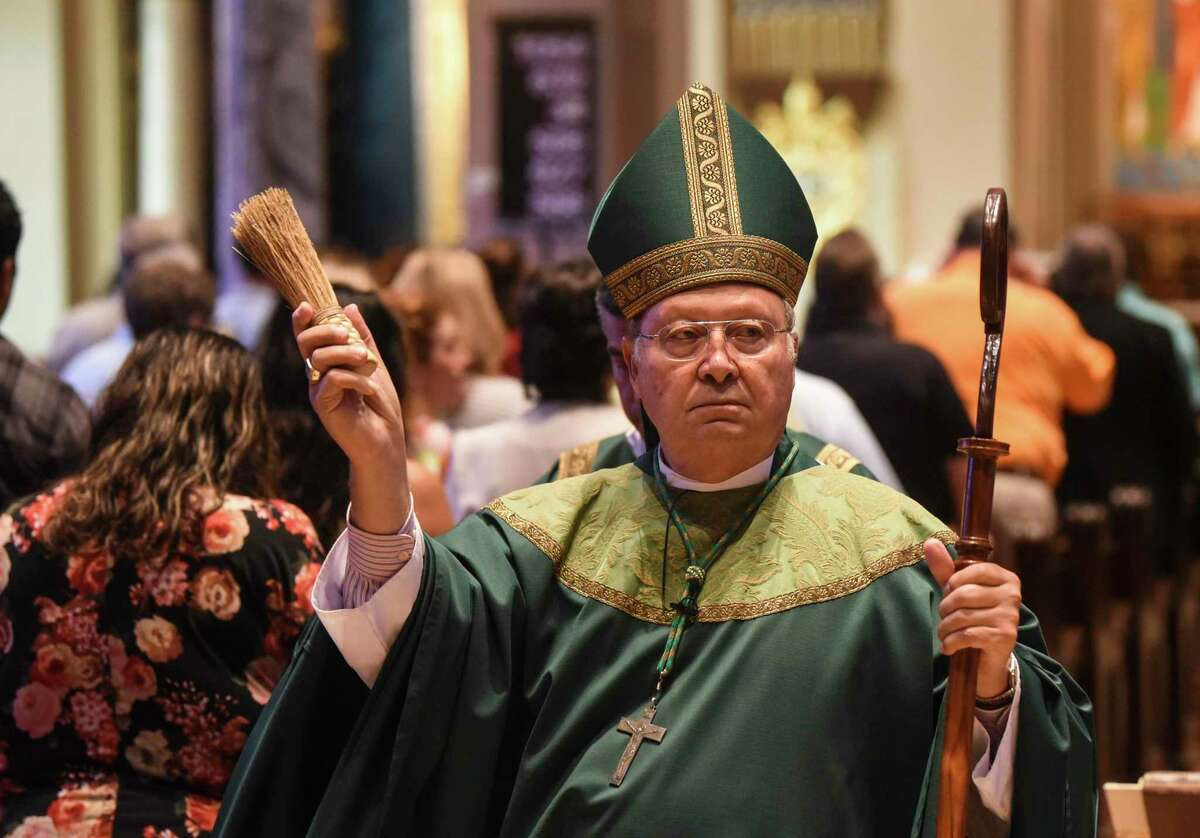 Bishop Curtis Guillory blesses those affected by Imelda during Mass at St. Anthony Cathedral Basilica Sunday morning. Photo taken on Sunday, 09/22/19. Ryan Welch/The Enterprise
