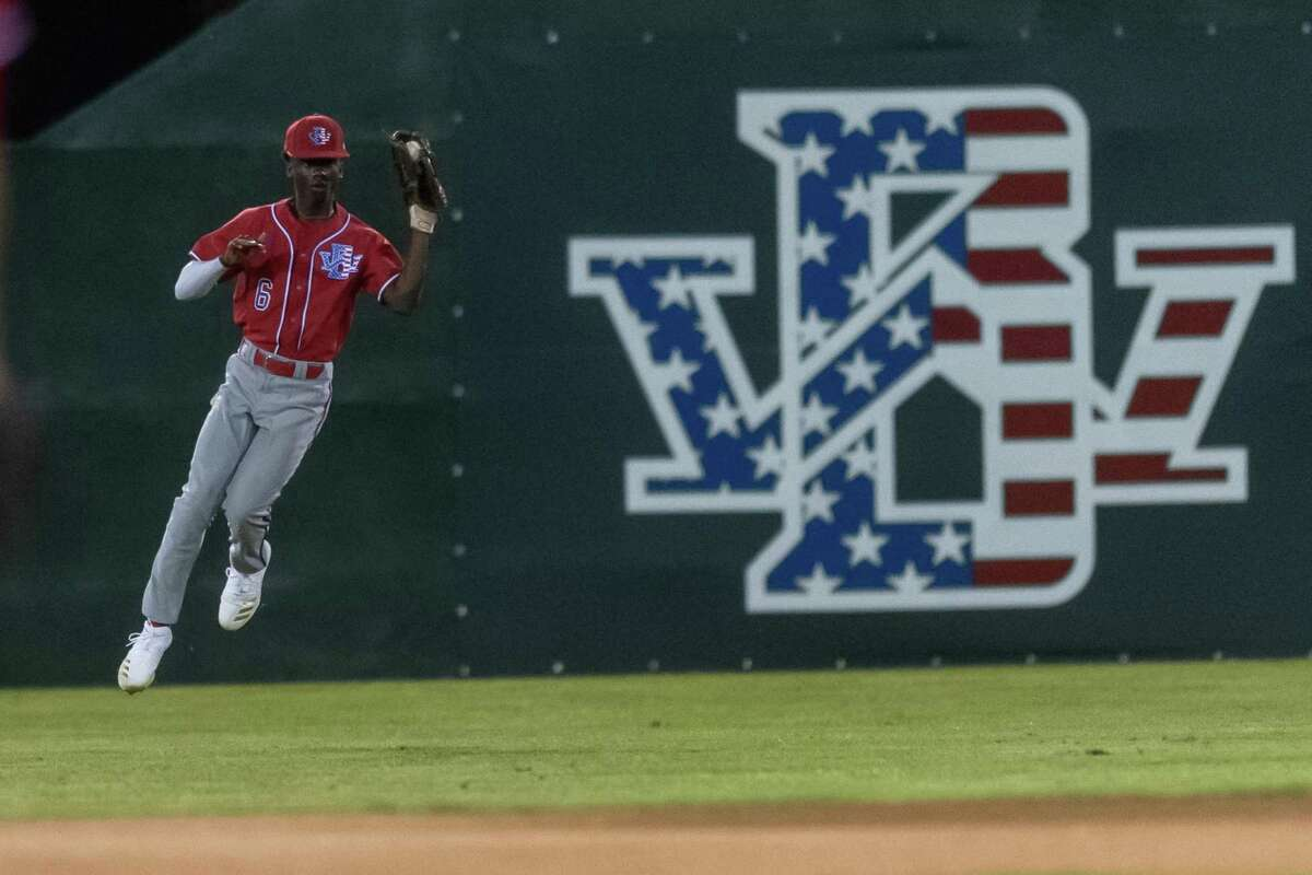 Kenny Harris (6) fields the ball in center field in the first inning for West Brook as the Bruins faced the Pirates of Vidor in the nightcap game of the tournament on Friday, March 13, 2020. Fran Ruchalski/The Enterprise