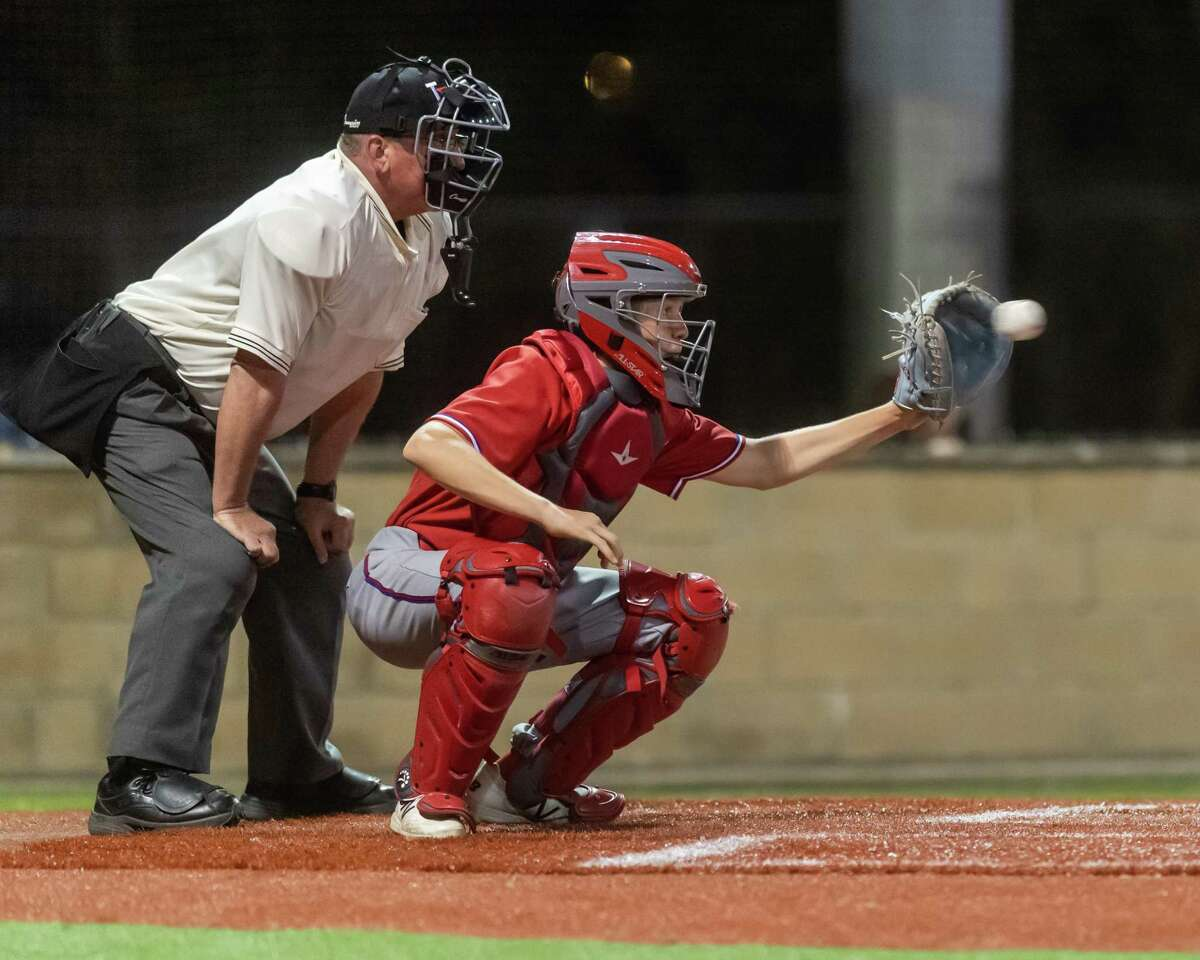 Owen Cansler (10) catches in the first inning for West Brook as the Bruins faced the Pirates of Vidor in the nightcap game of the tournament on Friday, March 13, 2020. Fran Ruchalski/The Enterprise