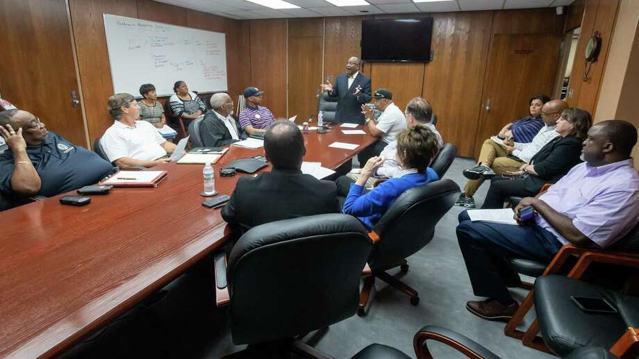 Several Port Arthur leaders gathered at City Hall on Friday, March 13, 2020 to discuss their response to the impending coronavirus pandemic.   Fran Ruchalski/The Enterprise Photo: Fran Ruchalski/The Enterprise / 2019 The Beaumont Enterprise