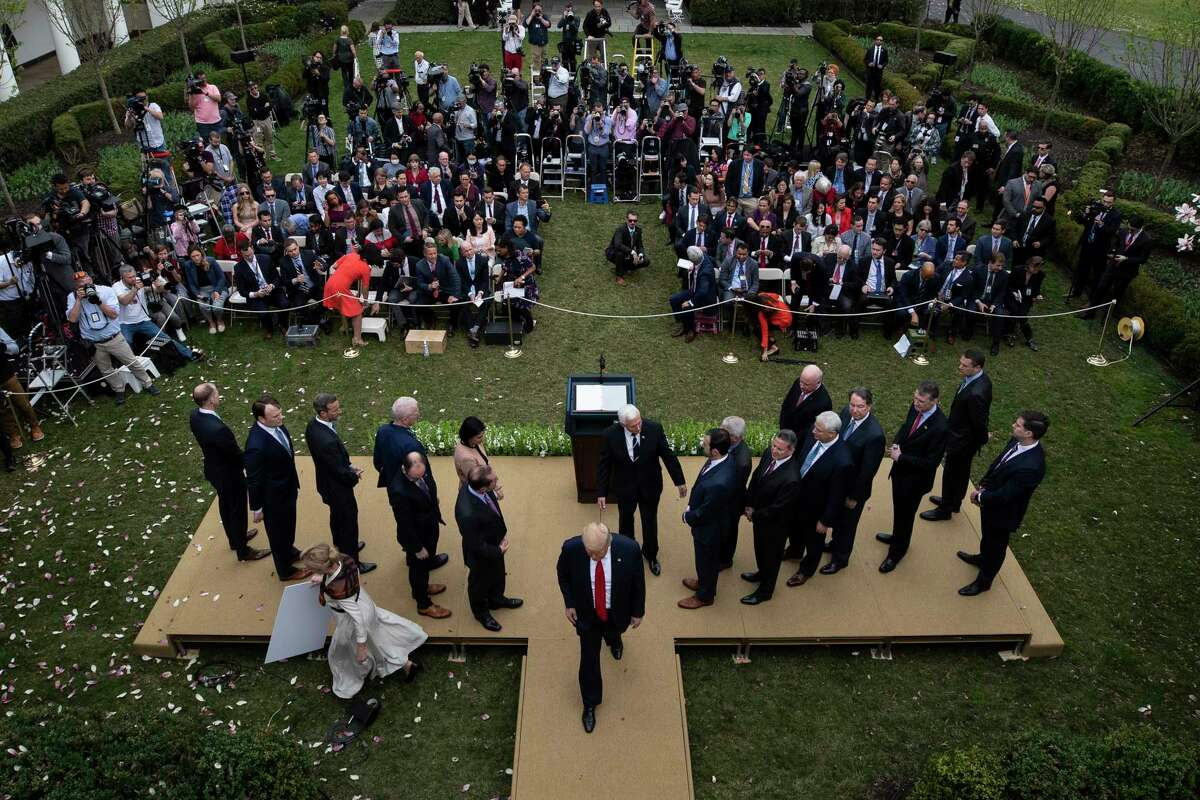 President Donald Trump departs after speaking during a news conference about the coronavirus in the Rose Garden at the White House, Friday, March 13, 2020, in Washington.