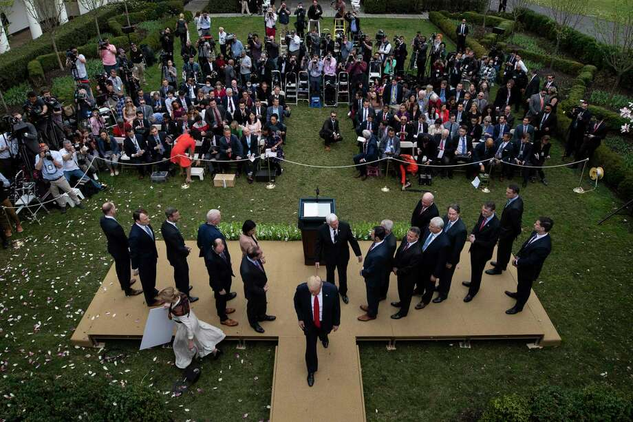 President Donald Trump departs after speaking during a news conference about the coronavirus in the Rose Garden at the White House, Friday, March 13, 2020, in Washington. Photo: Alex Brandon, AP / Copyright 2020 The Associated Press. All rights reserved.