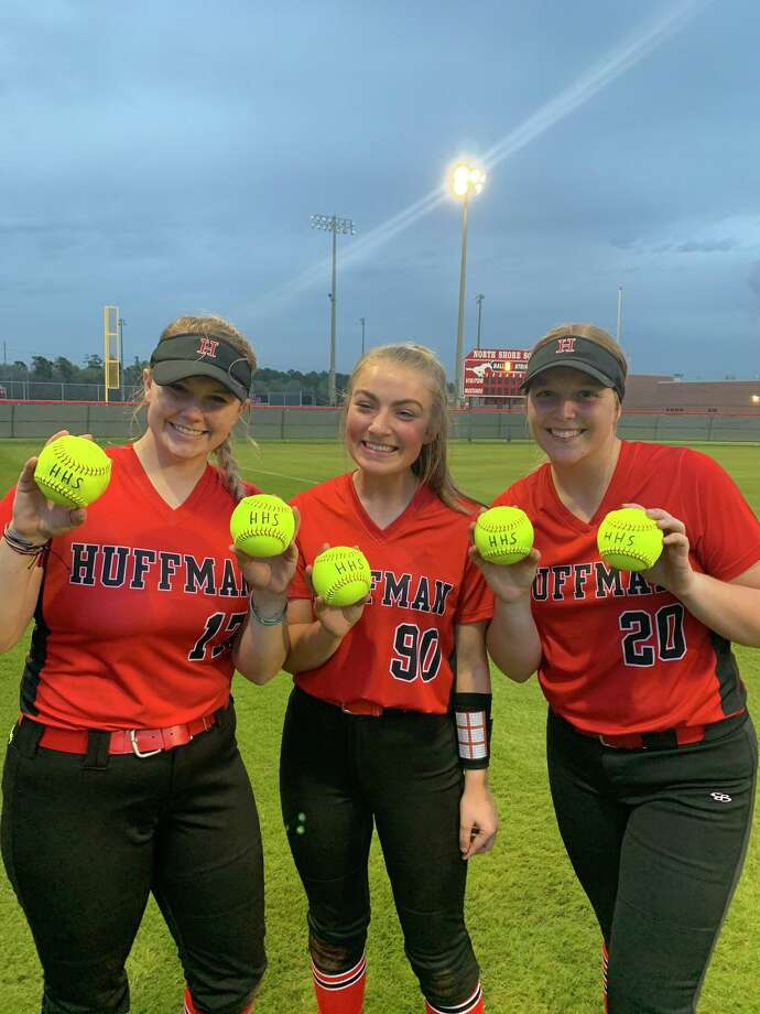 Left to Right: Hargrave's Christin Haygood holds up her two home run balls, Kylen Padgett holds up her home run ball, and Katy Janes holds up her two home run balls that were hit in the Lady Falcons' season opening game, a 13-1 win over North Shore on Feb. 18. Photo: Hargrave Softball