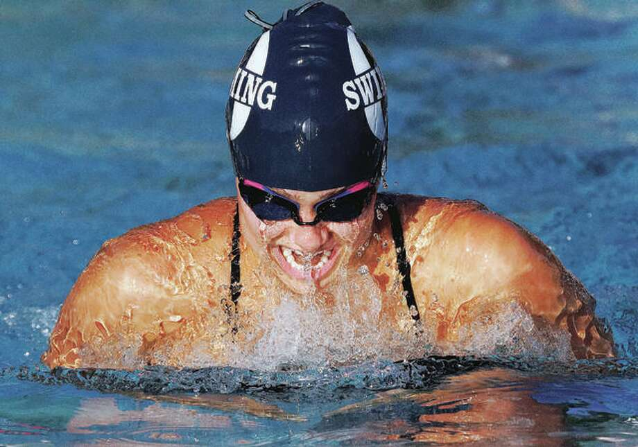 Marquette Catholic grad Ginny Schranck, a junior at Truman State University, qualified in the 100-breaststroke and 200-yard breaststroke at NCAA Division II National Swim Meet last week, but didn't get to swim either event when the NCAA cancelled the remainder of the meet because of the coronavirus threat. Photo: Pete Hayes | The Telegraph