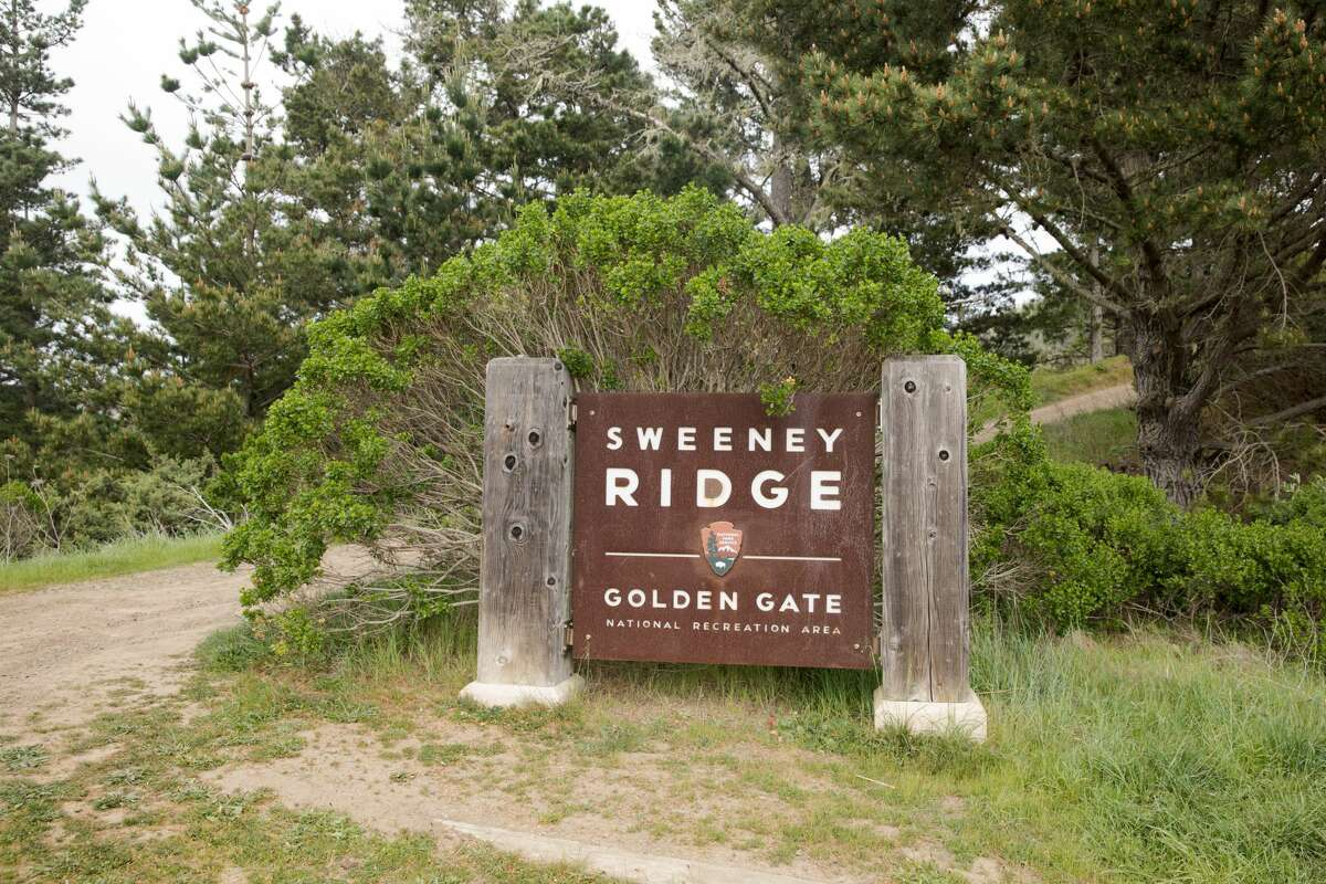 A sign marks the start of the trail. The Sweeney Ridge hike includes some steep climbs and remarkable views on the way to the San Francisco Bay Discovery Site. The site is where the Portola expedition discovered San Francisco Bay.