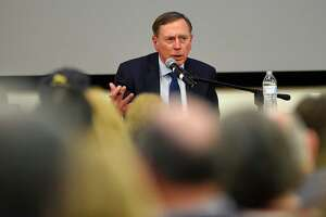 """Gen. David Petraeus speaks on """"Civility in Public Service"""" at Ferguson Library in Stamford on Tuesday, March 10, 2020."""