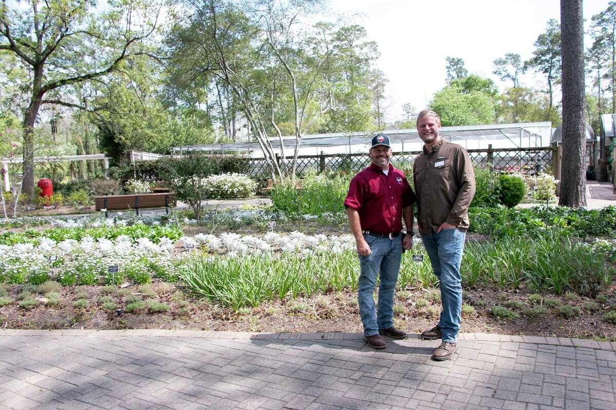 Chris Ludwig, director of Mercer Botanic Gardens, andBrandon Hubbard, horticultural manager for The Mercer Society, at Mercer Botanic Gardens.