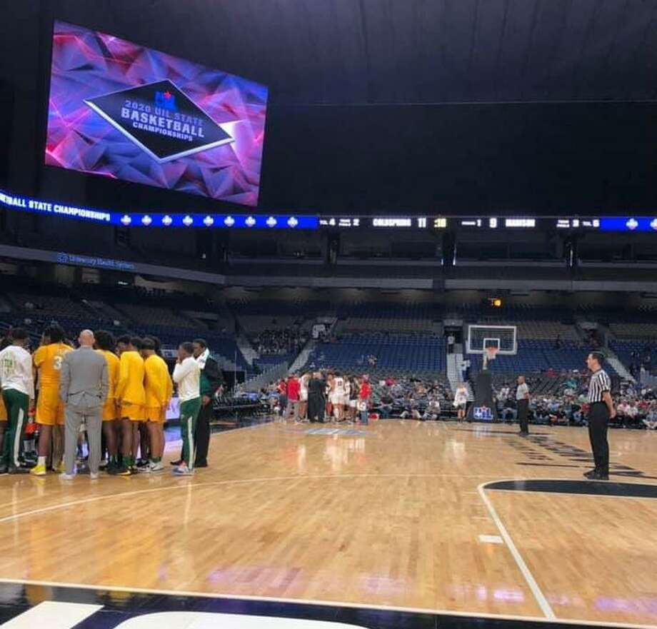 Splendora basketball coach Jason Vela's view of the basketball court Thursday, March 12, 2020 at the Alamodome in San Antonio. Vela, his son Joey and Joey's friend Kade attended the UIL Boys Basketball Championship until it was suspended later that day due to concerns with the coronavirus outbreak. Photo: Photo Submitted