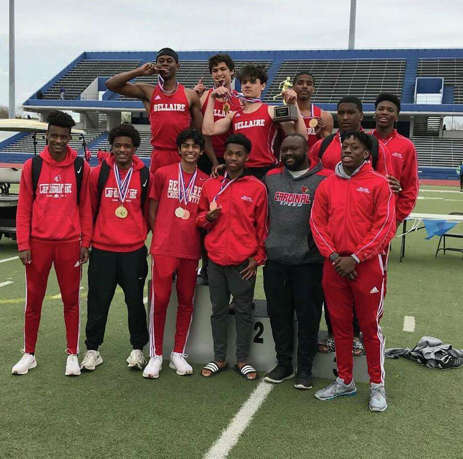 The Bellaire boys track and field team won the Houston Relays, scoring 114 points to finish ahead of Westbury (98) and Westside (84). Photo: Bellaire High School