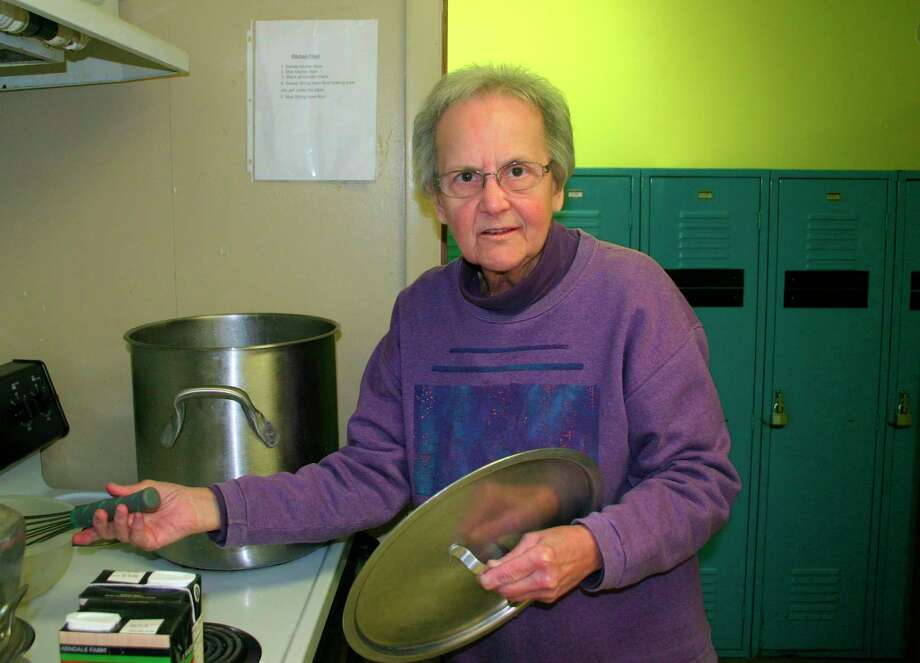 Jeanette Fleury (pictured) spends her Friday evenings preparing and serving dinner for the guest at Our Brother's Keeper in Big Rapids. She tries to prepare meals the guest will enjoy, and will make use of the many donations the organization receives. In addition to cooking, she assists guests in finding needed services and helps the staff with whatever needs done. (Pioneer photo/Cathie Crew)