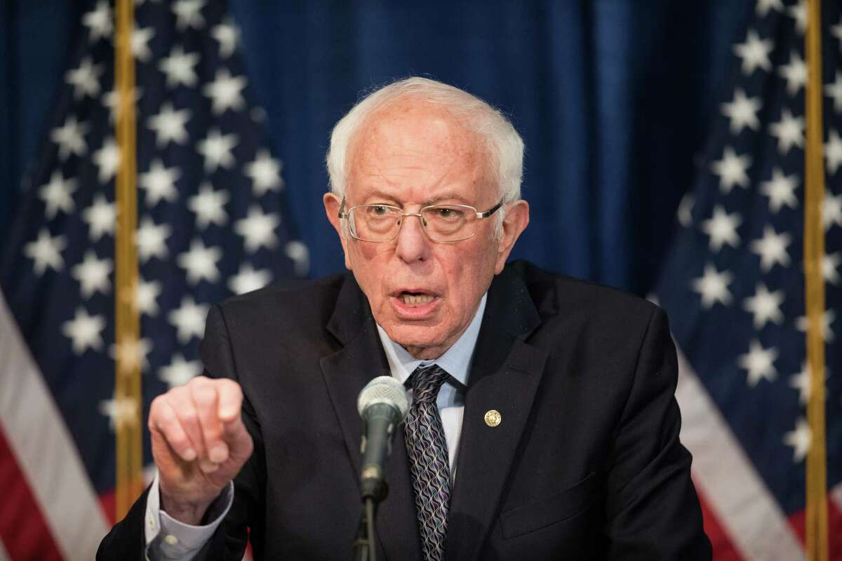 BURLINGTON, VT - MARCH 11: Democratic presidential candidate Sen. Bernie Sanders (I-VT) delivers a campaign update at the Hotel Vermont on March 11, 2020 in Burlington, Vermont. (Photo by Scott Eisen/Getty Images)