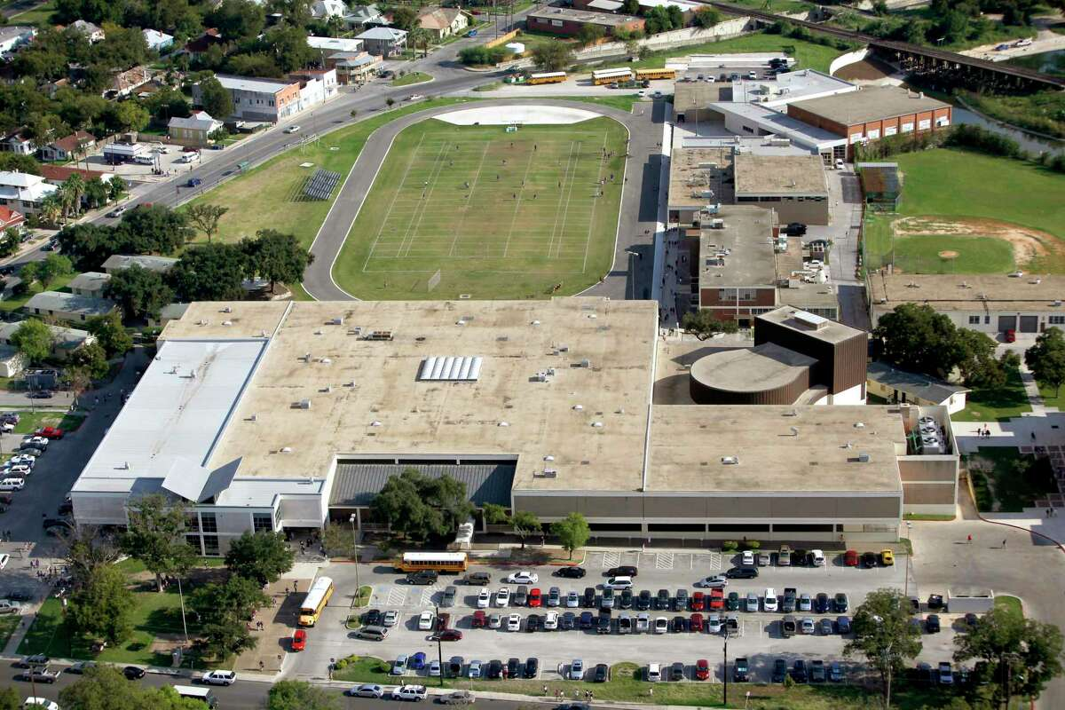 Brackenridge High School, shown in this 2012 photo, is one of eight high schools where SAISD is offering curbside pickup of breakfast and lunch.