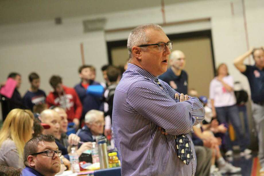 Morley Stanwood basketball coach Bob Raven watches the action earlier this month in his team's game against Big Rapids. (Pioneer photo/John Raffel)