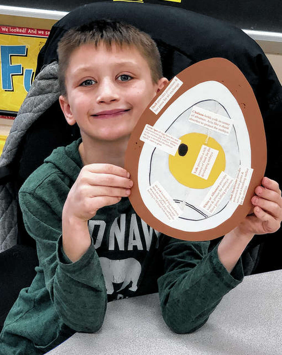 The Pike-Scott Agriculture in the Classroom program recently visited third-graders at Pleasant Hill and Winchester elementary schools to offer a lesson on poultry. Easton Hansen, a student in Mrs. Evans' class at Pleasant Hill, completed his craft project on the anatomy of an egg.