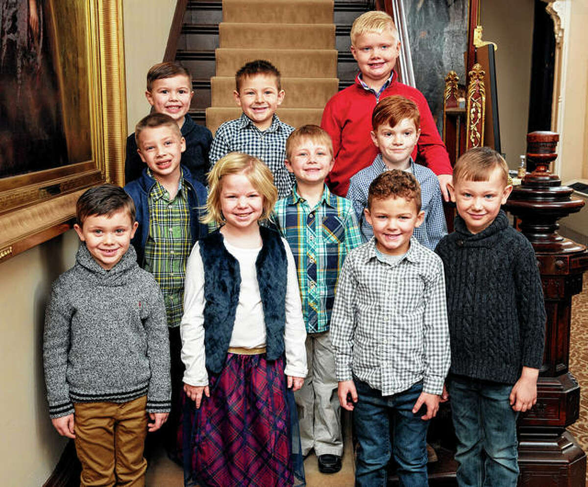 The flower girls and pages for the 2020 Beaux Arts Ball include Landon Hackett (front row, from left), Stella Van Aken, Henry Garver, Liam Sykes, Otto Zang (second row, from left), Nicholas Warmowski, Tal Henry, Charlie Guidish (back row, from left), Will Seymour and Ty Bumgarner. Ava Bergschneider and Axel Eckhouse are not pictured.