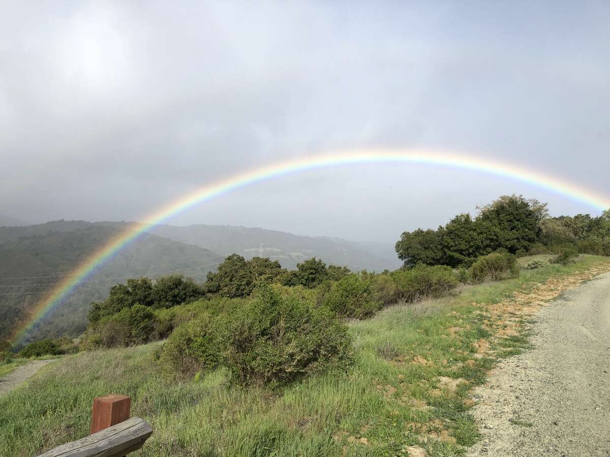 A mountain biker at Fremont Older Preserve in Cupertino captured a photo of a rainbow amid showery conditions on March 14, 2020.
