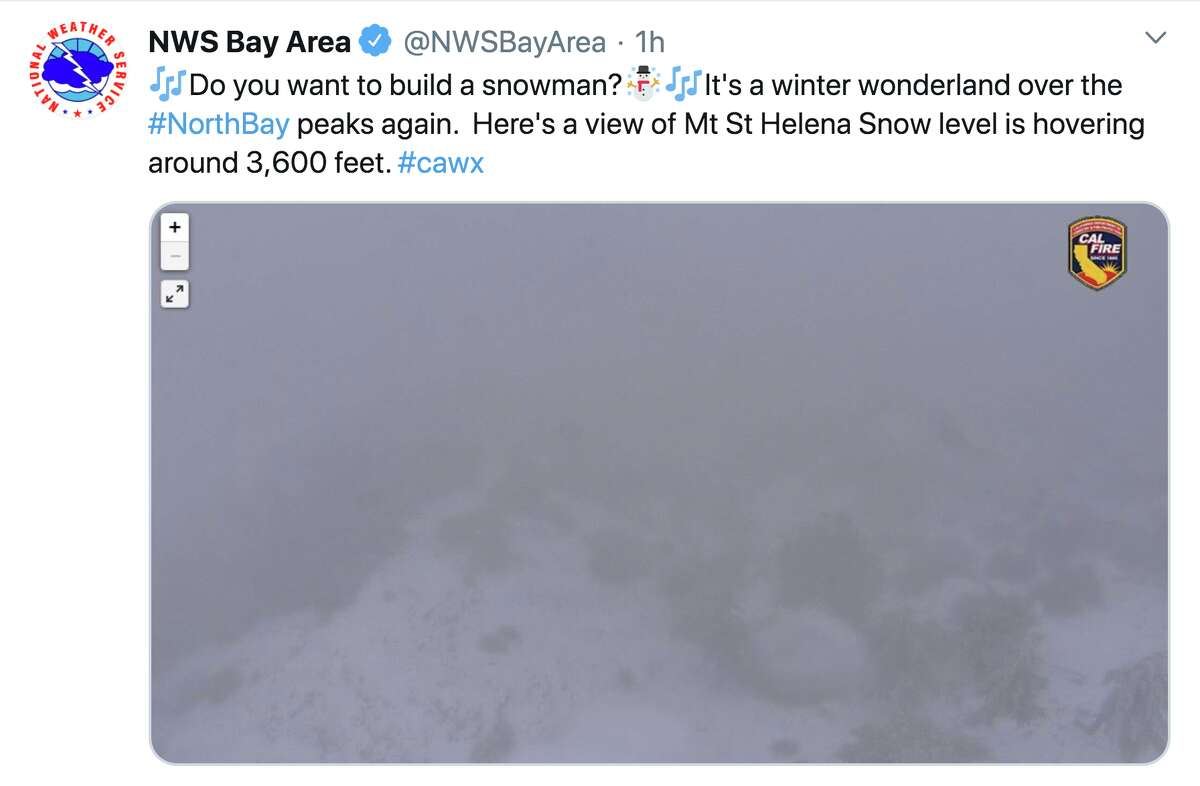 Snow fell on Bay Area mountaintops above 3,000 feet on March 15, 2020.