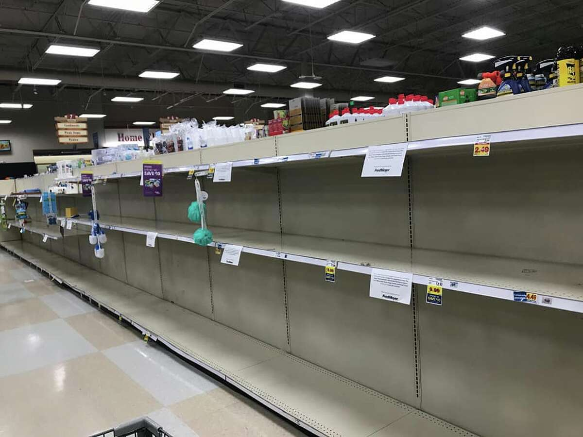 Empty shelves at theSafewaystore in Newcastle, Wash. on March 14, 2020.