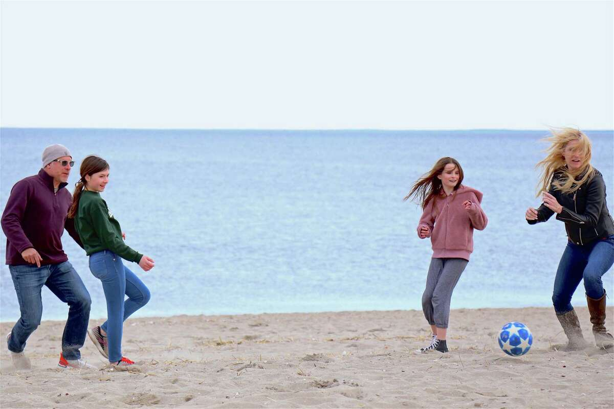 The Daly family of Fairfield went out to Jennings Beach for some sand soccer on Saturday, March 14, 2020, in Fairfield, Conn.