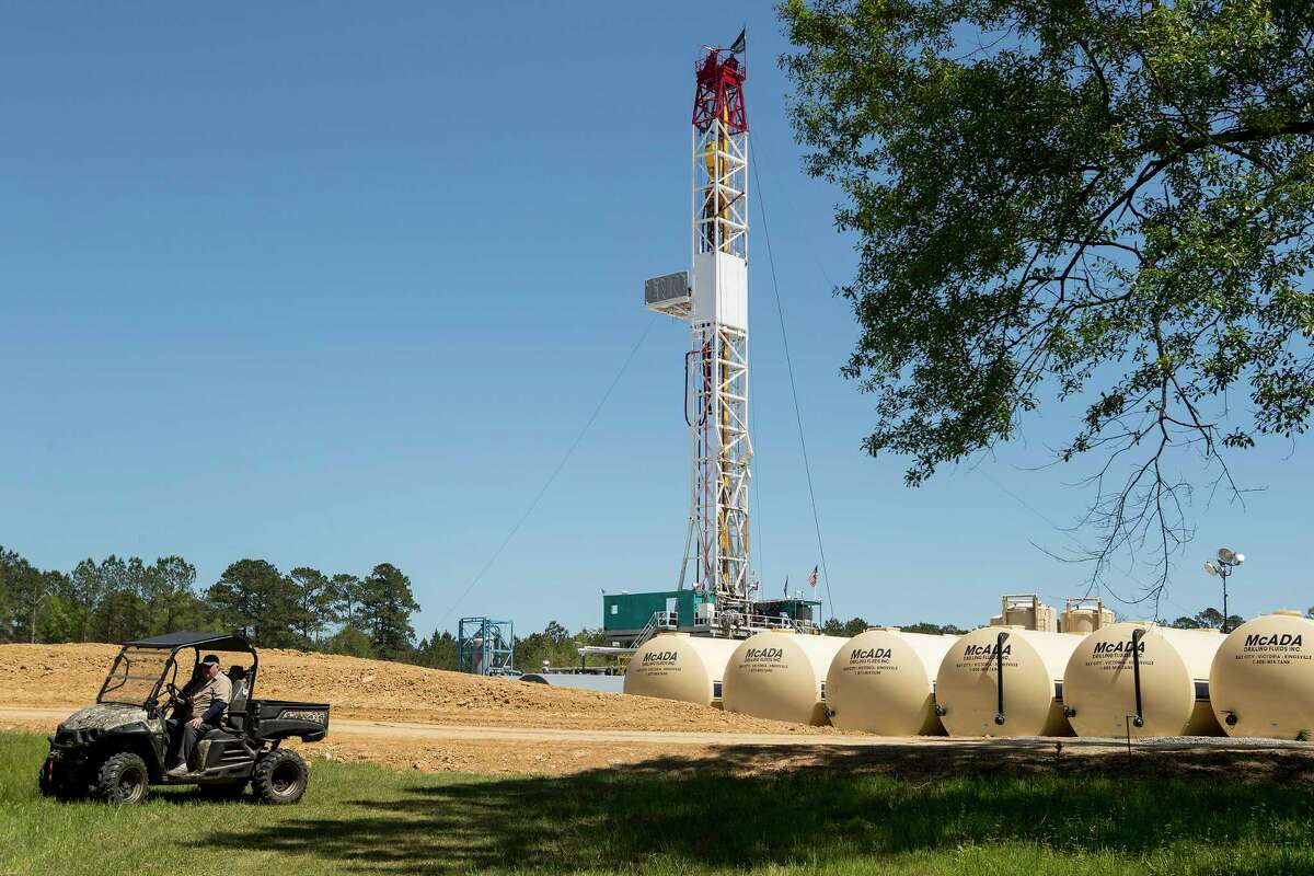 Herbert Erwin rides past the rig on his land as drilling commences on the Erwin #1 well site on Tuesday, April 2, 2019, in St. Francisville, La. The Austin Chalk shale play that stretches from Texas into Louisiana is potentially being seen as a next big oil and gas play for Houston energy companies.