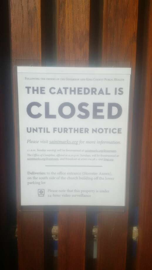 St. Mark's Cathedral closed to the public due to Washington's guidelines of no gatherings with more than 250 people. Photo: Joel Connelly/SeattlePI