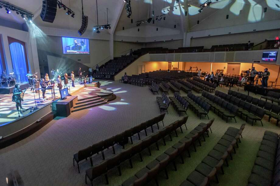 The worship band at the Cathedral in the Pines plays to an empty church and the live-stream audience on Sunday, March 15, 2020.   Fran Ruchalski/The Enterprise Photo: Fran Ruchalski/The Enterprise / 2019 The Beaumont Enterprise