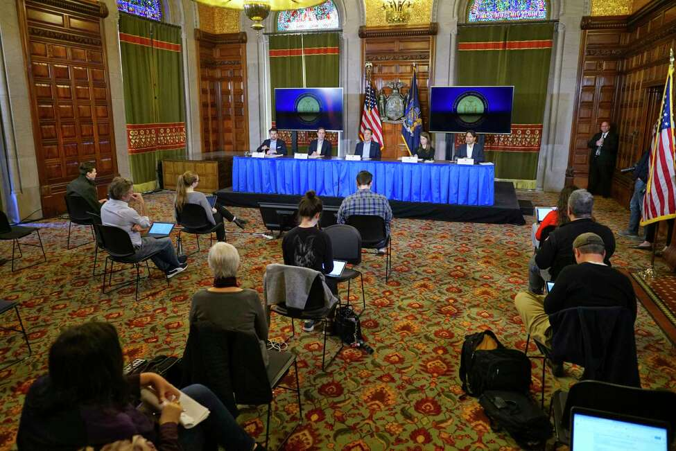 Governor Andrew Cuomo speaks at a press conference to talk about COVID-19 cases in the state on Sunday, March 15, 2020, in Albany, N.Y. The seating for the press has been separated for social distancing during the COVID-19 outbreak. (Paul Buckowski/Times Union)
