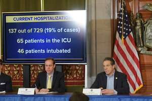Dr. Howard Zucker, left, commissioner of the New York State Department of Health and Governor Andrew Cuomo are seen at a press conference dealing with the COVID-19 cases in the state on Sunday, March 15, 2020, in Albany, N.Y.    (Paul Buckowski/Times Union)