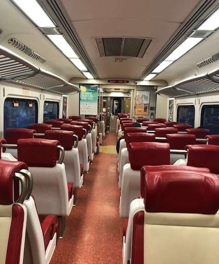A commuter took this photo of an empty Metro-North car in Stamford during rush hour on Friday. Photo: Contributed Photo