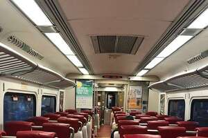 A commuter took this photo of an empty Metro-North car in Stamford during rush hour on Friday.