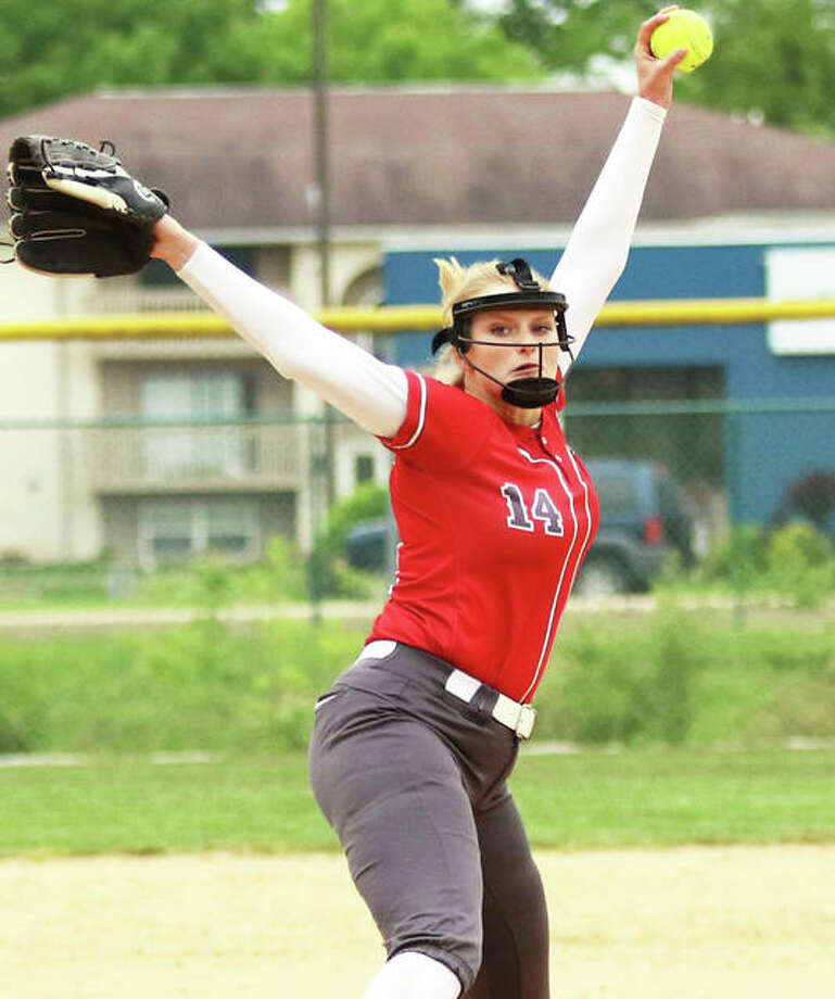 Alton pitcher Alyson Haegele works to the plate during a game last season at Belleville East. Haegele is back for her junior season after leading the Redbirds in wins and innings during a 23-10 season. Photo: Greg Shashack / The Telegraph