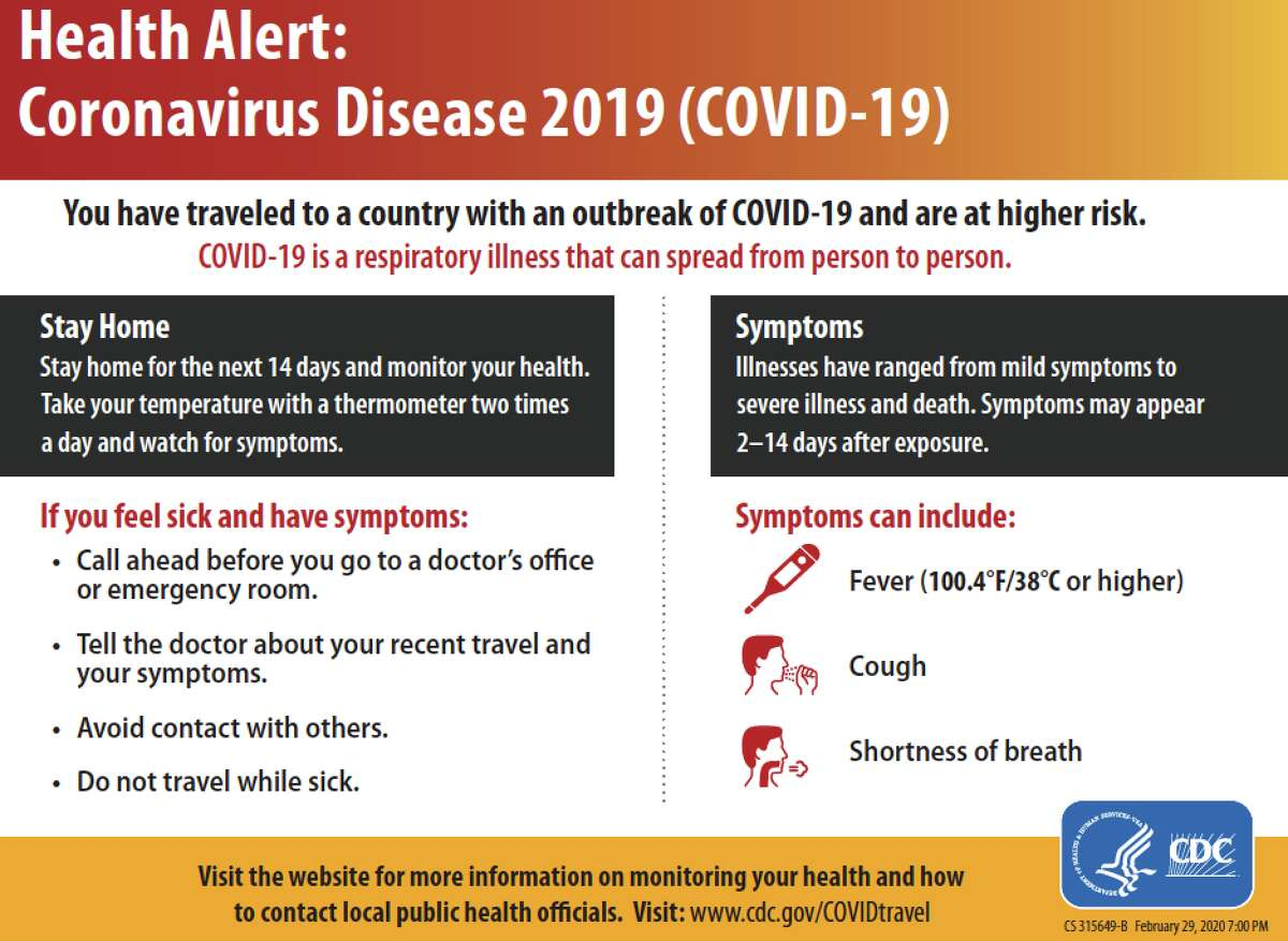 This is the CDC form given to travelers arriving at US Airports from countries or regions where there's a coronavirus outbreak. It asks travelers to stay home for 14 days and take temperature twice per day.