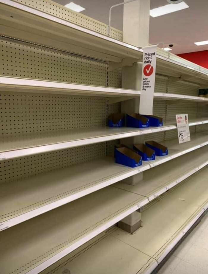 Complete aisles were bare at the Target store in Tukwila, Wash. on March 15, 2020. For a look at some of the empty shelves across the Seattle area, click through the gallery. >>> Photo: Mindi Aitken