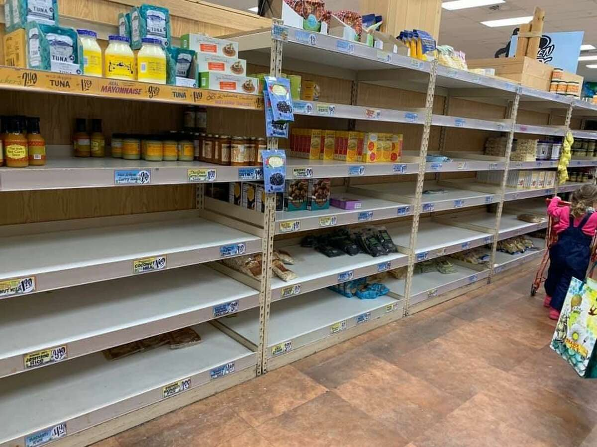 Shelves were empty at the Trader Joe's store in Olympia, Wash. on March 15, 2020.