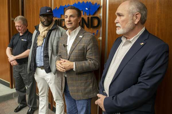 Midland Memorial Hospital CEO Russell Meyers, from left, MISD Superintendent Orlando Riddick, Mayor Patrick Payton and Midland County judge Terry Johnson answered questions from the press after the closed roundtable Sunday, March 15, 2020 at City Hall.