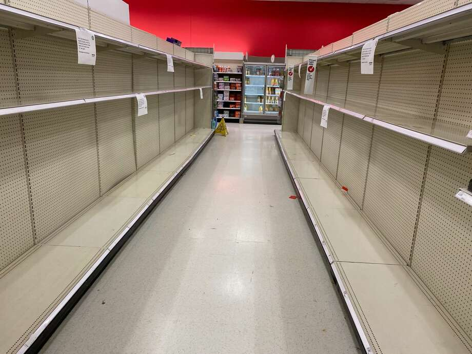 An empty toilet paper aisle at the Westwood Village Target store in West Seattle, Wash. on March 15, 2020. Photo: Kristina Moy