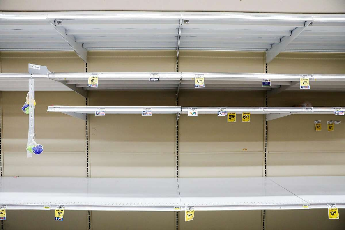 Empty shelves are seen at Safeway on 16th Street on Sunday, March 15, 2020 in San Francisco, California. The coronavirus has caused shoppers to stock up on various items like water and toilet paper.