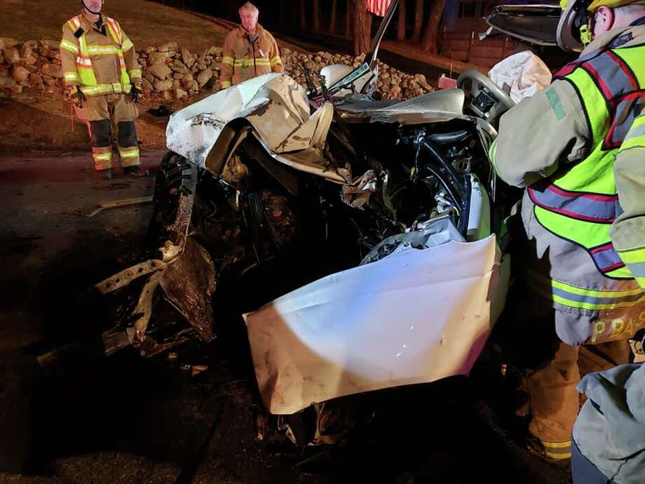 One person had to be extricated from a motor-vehicle that ran into a tree off of Flat Swamp Road on Sunday, March 15, 2020. Photo: Dodgingtown Volunteer Fire Co. Photo