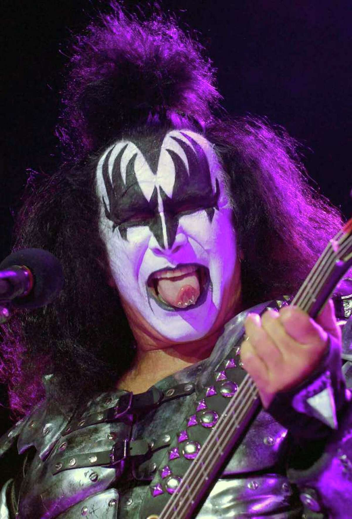 Gene Simmons performs with Kiss at the Saratoga Performing Arts Center on Tuesday, Aug. 17, 2010. ( Michael P. Farrell / Times Union )