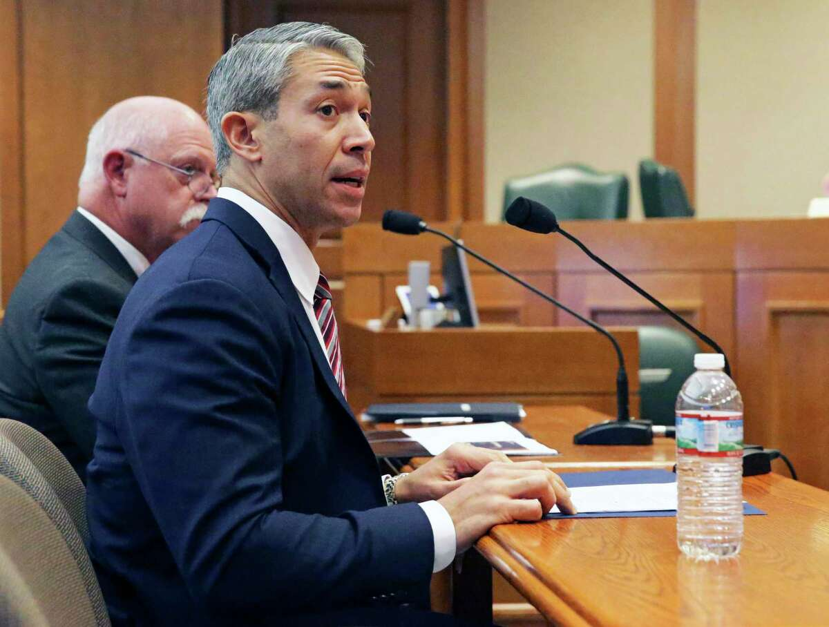 San Antonio Mayor Ron Nirenberg addresses members as the House of Representatives Committee on Public Health concerning the coronavirus threat in Texas on Feb. 10, 2020. Nirenberg plans to issue a new emergency order Monday forbidding public and private gatherings of more than 50 people, he said Monday.