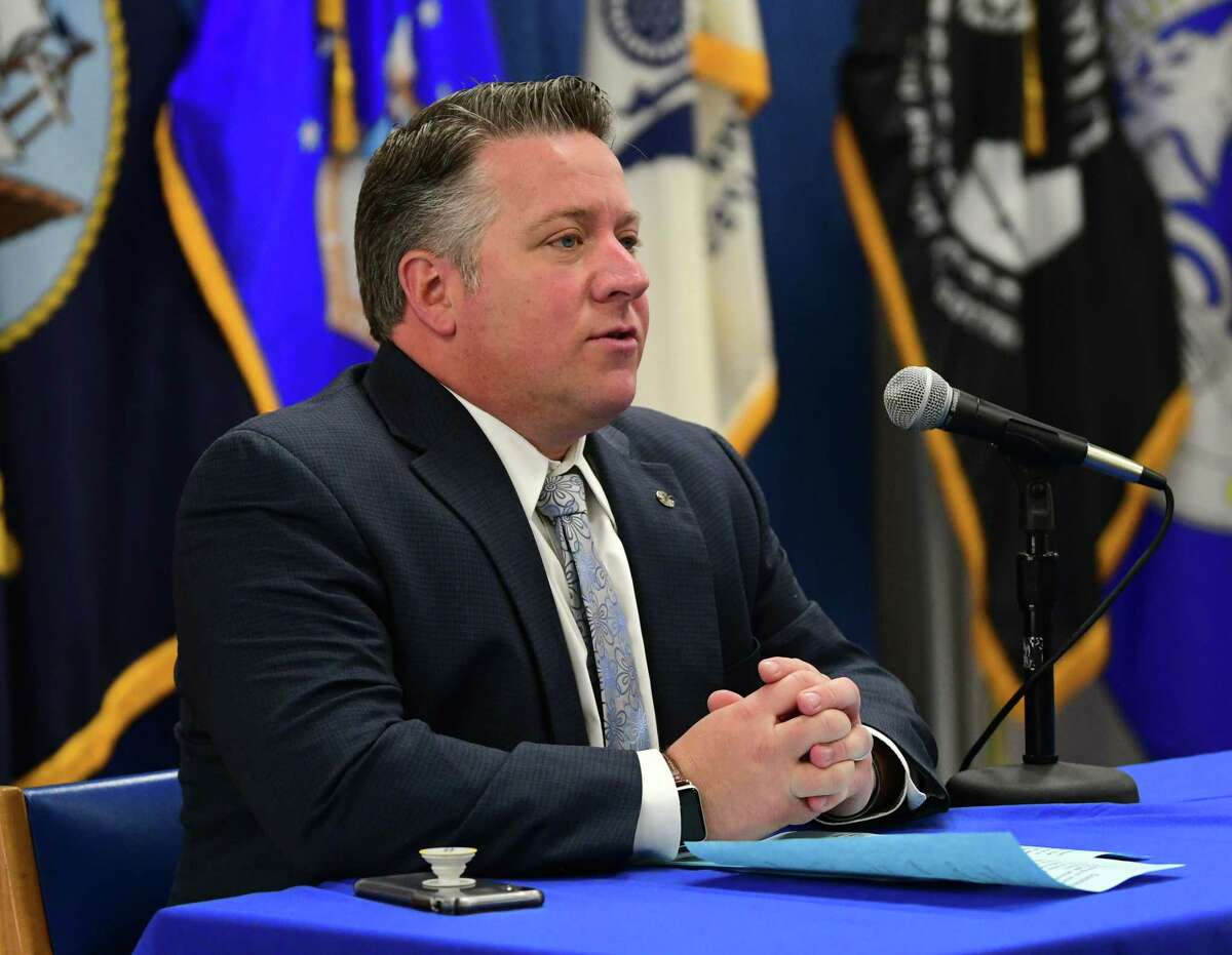 Albany County Executive Daniel McCoy briefs the media on COVID-19 at Albany County Office Building on Monday, March 16, 2020 in Albany, N.Y. Albany County Department of Health Commissioner Dr. Elizabeth Whalen was sitting a distance next to him. (Lori Van Buren/Times Union)