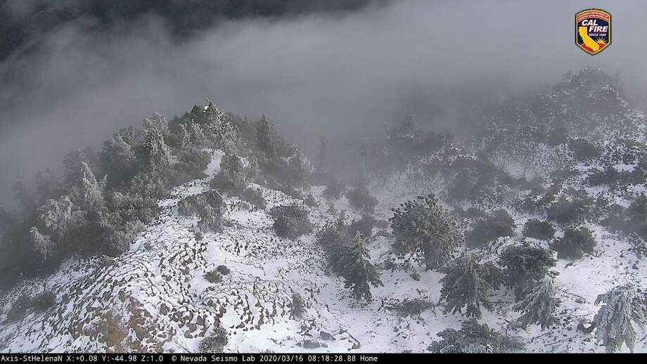 Cal Fire webcam shows snow on Mount St. Helena in the Northern California wine country on March 16, 2020. Photo: Cal Fire