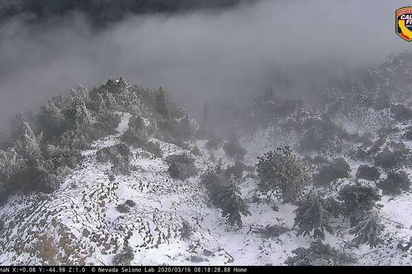 Cal Fire webcam shows snow on Mount St. Helena in the Northern California wine country on March 16, 2020.