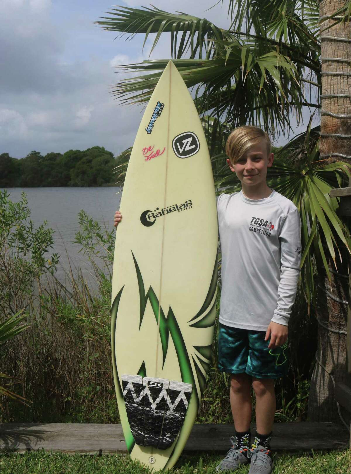 Marshall Kendrick Middle School student Caden Shelton is the current state surfing champion in the Menehuene Division (9-12 year-olds). A member of the Texas Gulf Surf Association All-Star Team, the 11-year-old hasn't met a wave he and his surfboard can't conquer.